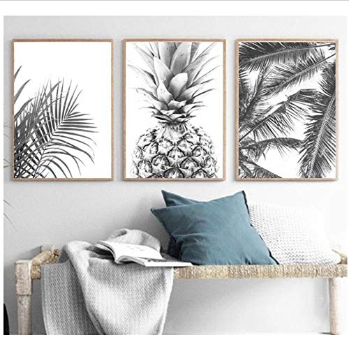 wsqyf Nordic Minimalism Tropical Prints Palm Tree Leaves Wall Art Pineapple Poster Black White Canvas Painting Picture for Living Room 60x80cmx3 (no Frame)