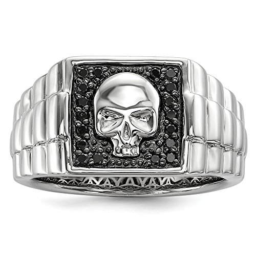 925 Sterling Silver Rhod Plated Black Diamond Square Skull Mens Band Ring Size 9.00 White Night Man Fine Jewellery For Dad Mens Gifts For Him