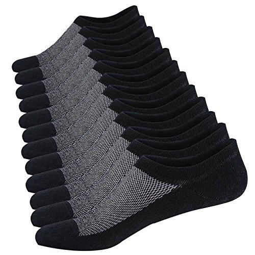 Ueither Calcetines Cortos Hombre Invisibles Respirable Calcetines tobilleros Algodón Antideslizantes (Tamaño: 44-48, 6 Pares Negro)