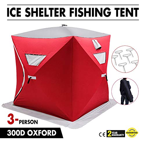 SHIJING Tragbare Pop-up-3-Personen Ice Shelter-Fischen-Zelt Shanty w/Bag Ice Anchors Red