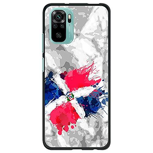 Funda Negra para [ Xiaomi Redmi Note 10 4G / Redmi Note 10S ], Carcasa de Silicona Flexible TPU, diseño : Bandera Republica Dominicana, Pintura de brocha Fondo Abstracto
