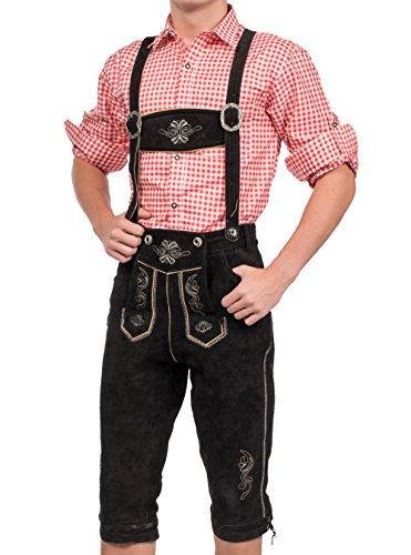 Herren Trachten Lederhose Kniebundhose inklusive Träger, Trachtenlederhose (52, Schwarz)