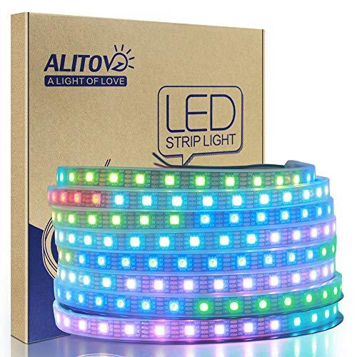 ALITOVE WS2813 12V LED Strip Light 12V WS2812B RGB Addressable LED Pixel Tape Light WS2815 Programmable LED Felxible Strip 16.4ft/5m 300 LEDs Waterproof IP67 Black PCB for Decor Lighting Project