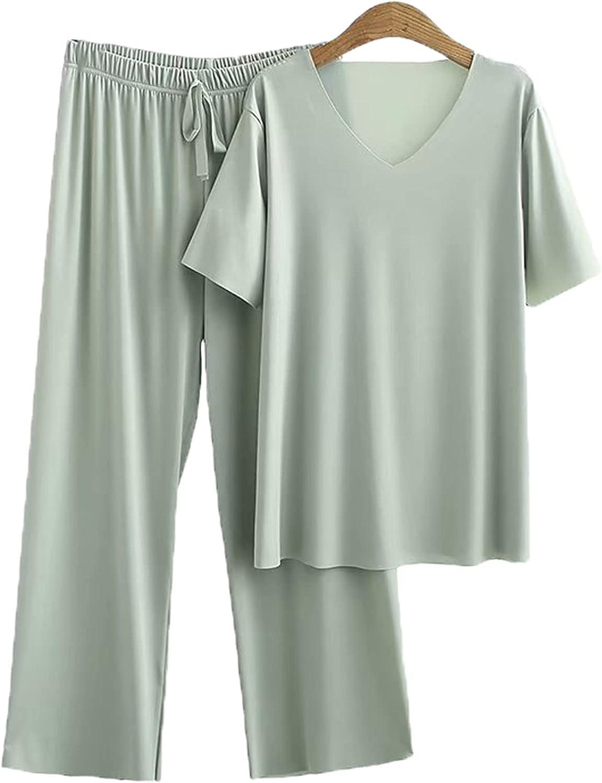 Plus Size Women's Suit Summer Clothing Casual Short Sleeve T-Shirt Wide Leg Trousers 2 Pcs Sets Pants Suit