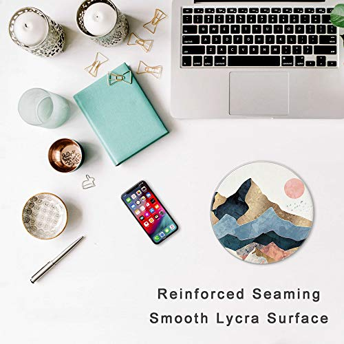 HOPONY Mouse Pad with Stitched Edge, Premium-Textured Mouse Mat with Waterproof Non-Slip Rubber Base, Cute Round Mousepad for Laptop Computer Office Desk Accessories,7.9 x 7.9 inch, Mountain Sunrise Photo #3