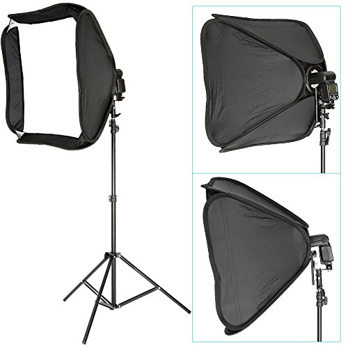 Neewer Professional Protable Off-Camera Flash Softbox & Stand Kit for Nikon SB900 SB800 SB600, Canon 580EXII 580EX 430EXII 430EX, Neewer TT860, TT850, TT560, Yongnuo, Nissin, Pentax, Olympus and Other Speedlite with Universal Hotshoe, includes: (1) 24