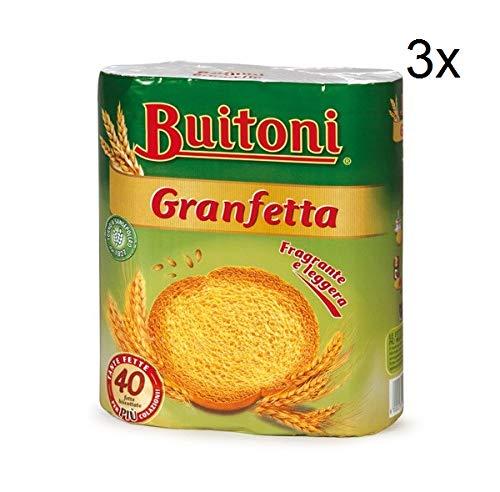 3x Buitoni Granfetta Fette Biscottate 40 fette Zwieback duftend und leicht Kekse 300g