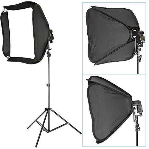 Neewer® Professionelle Protable Off-Kamera-Blitz Softbox & Stand Kit für Nikon SB900 SB800 SB600, Canon 580EX 580EXII 430EXII 430EX, Neewer TT860, tt850, TT560, Yongnuo, Nissin, Pentax, Olympus und andere Speedlite mit Universal-Blitzschuh, umfasst: (1) 24