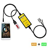 Yomikoo AUX Adapter, Car MP3 Player USB & 3.5mm AUX Jack CD Changer for VWAudi 12pin A3 2008-2010, A4/S4 2007-2009, Beetle 2009-2011, Jetta 2003-2011, Passat2004-2011, Polo 2005-2011