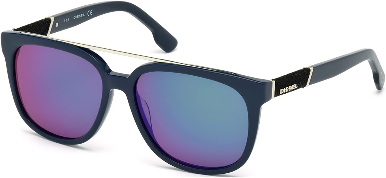 Sunglasses Diesel DL 166 DL0166 90Q shiny bluee   green mirror
