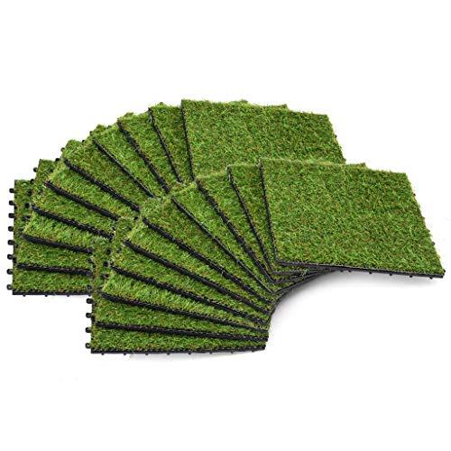 Tidyard Kunstrasen-Fliesen 20 STK. Rollrasen | Kunststoffrasen | Rasenteppich | Rasenfliesen Terassenfliesen für Garten Balkon Terrasse