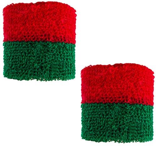 Brubaker - Poignet éponge - Lot de 2 - Portugal/Maroc - Collection Supporter - Vert/Rouge
