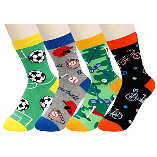 Boys Crazy Fun Soccer Baseball Sports Themed Cotton Crew Socks, Golf Bicycle Design