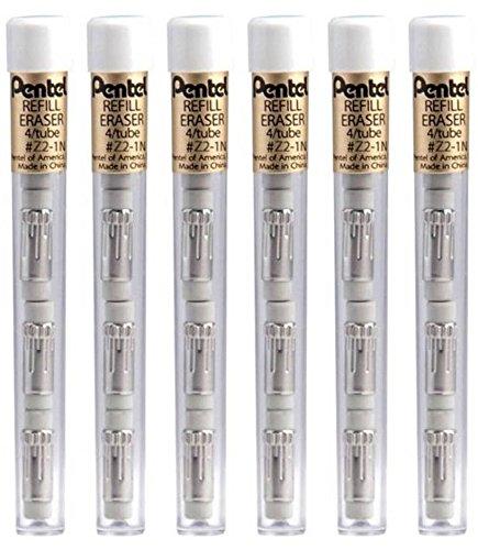 Pentel Z21bp-K6 White Pencil Eraser Refills (Pack of 6)