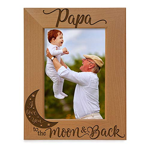 KATE POSH Papa I Love You to the Moon and Back Natural Wood Engraved Picture Frame. Best Grandpa Ever, Father's Day, Papa Gifts for Birthday, from New Baby, Grandparent's Day (4x6-Vertical)