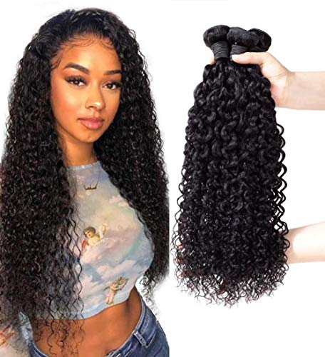 9A Brazilian Jerry Curly 3 Bundles Deals Human Hair 100% Unprocessed Bundles Wet and Curly Weave Hair Extensions(JC10 12 14Inch)