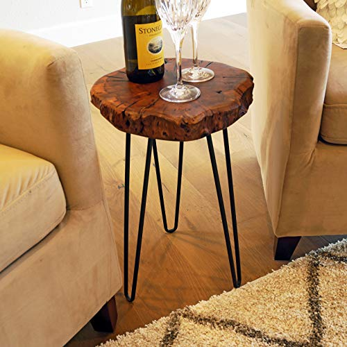 WELLAND Unique Shape Natural Wood Stump Rustic Surface End Table Cedar Outdoor Coffee Table