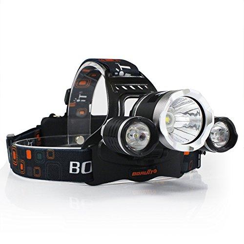 Boruit RJ-5000 3X XM-L2 T6 LED 4 Modi Micro USB Output LED stirnlampe, Super Bright 5000 Lumen Kopflampe mit Wiederaufladbaren Batterien, USB Ladekabel für Camping, Wandern, Lesen, Fahrrad, Angeln