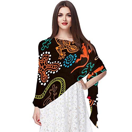 Australian Aboriginal Arts MotifsTranslucide léger respirant mousseline de soie pure grande taille femmes châles