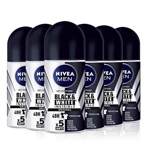 NIVEA MEN Black & White Invisible Original Roll-on pack de 6 (6 x 50 ml), desodorante antimanchas de cuidado masculino, desodorante invisible para proteger la piel y ropa