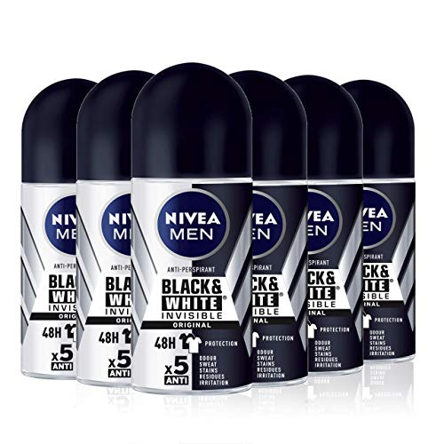 NIVEA MEN Black & White Invisible Original Roll-on pack de 6 (6 x 50 ml), desodorante antimanchas de cuidado masculino, desodorante invisible para proteger la piel y ropa