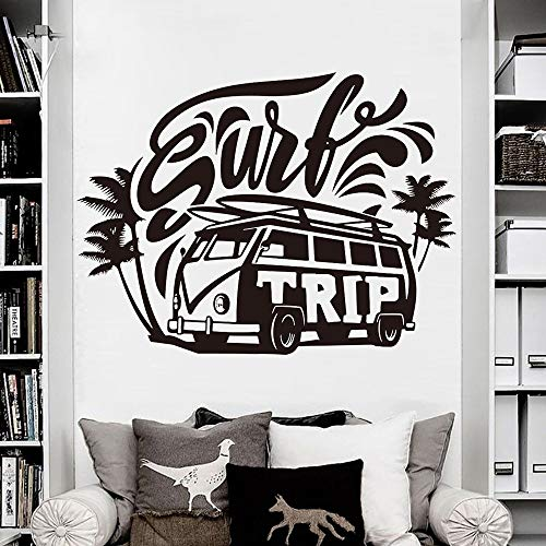 Dwzfme Adhesivos Pared Pegatinas de Pared Coche, vehículo, Viaje de Surf, Palmera, Playa, Surf, Pegatina, Vinilo, decoración del hogar, Mural 77x57cm