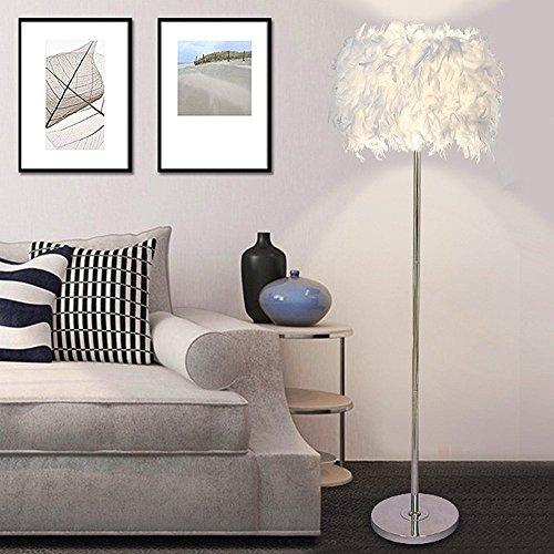 ELINKUME Stehleuchte, weiße Federn LED Stehleuchte, Simple Modern Style LED Wohnzimmer Lampe (6W, weiß, Pedal-Schalter, warmes Licht E27-Halter)