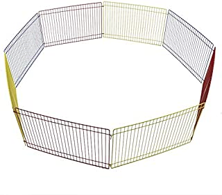 持ち運び便利 ペットサークル 折りたたみ ペット サークル ペットサークル 組立式 八角形 金属製 小動物 旅行 持ち運び 小動物適用 カラフル設置簡単 ハムスター うさぎ モルモット 折りたたみ可能 8枚セット