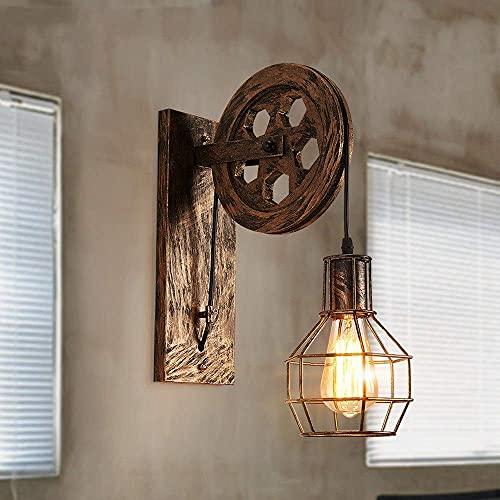 WGFGXQ Cepillo Oro Industrial Viento Retro Lámpara de Pared Polea de elevación Creativa Luz de Pared Personalidad Restaurante Pasillo Pasillo Aplique Decorativo Linterna de Pared Polea Candelabro
