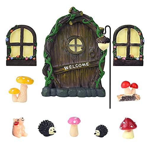MIAHART Juego de Decoraciones de jardín, Puertas y Ventanas jardín en Miniatura para árboles, Figuras de Resina Hongos y erizos, Micro Ornamentos Paisaje para decoración Jardines Hongos al Aire Libre