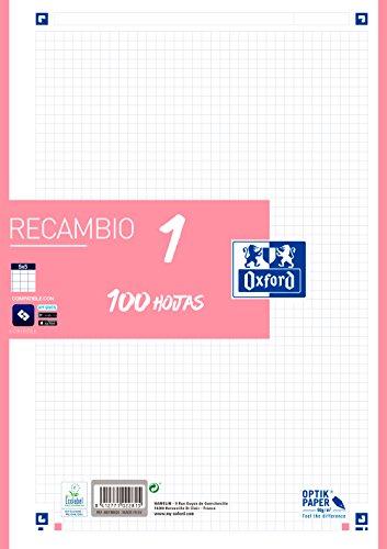 Hojas cuadriculadas A4 Recambio Oxford, Banda color Ice Mint. 100 Hojas. Cuadrícula 5x5., rosa chicle, 400106624