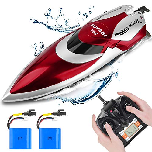GizmoVine Hobby Remote Control Boat for Pools and Lakes, Fast RC Speed Boats for Adults and Kids, Waterproof, 4 Channel, 2.4GHZ Remote Control, 2 Rechargeable Battery