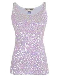 White (little Pink) Sequin Sleeveless Round Neck Tank Top