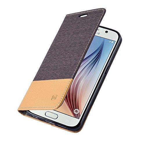 Samsung Galaxy S6 Handyhülle, Hochwertige Flip Case Tasche aus Premium Leder, schwarz-braun mit Magnetverschluss von mangao® Hüllen