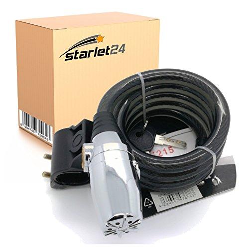 Starlet24 120cm Fahrradschloss Spiralschloss mit Alarm Sicherheitschloss Diebstahlsicherung Power Lock für Fahrrad Motorrad Tore