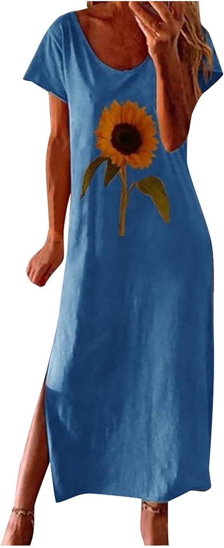 Jaqqra Summer Dress for Women Sunflower Printed Casual Long Maxi Dress O Neck Short Sleeve Split Cover Up Boho Sundress