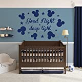 Wall Decals Quotes Mickey Mouse Vinyl Sticker Decal Quote Good Night Sleep Tight Nursery Children Baby Room Kids Decor Bedroom NS1050