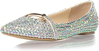 Women's Flat Wedding Shoes, Pointed Toe Flats Decorated with Rhinestones Metal Button Non-Slip Comfortable and Sparkling Suitable for Weddings Banquets