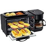 MBBJJ 3-in-1 Family Size Multifunction Breakfast Station Hub Bread Machine, Electric Oven, Coffee Maker, One Black Machine