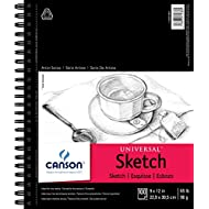 "Canson 702-192 Universal Sketch Pad, Side Wire Bound, 9"" x 12"", White"