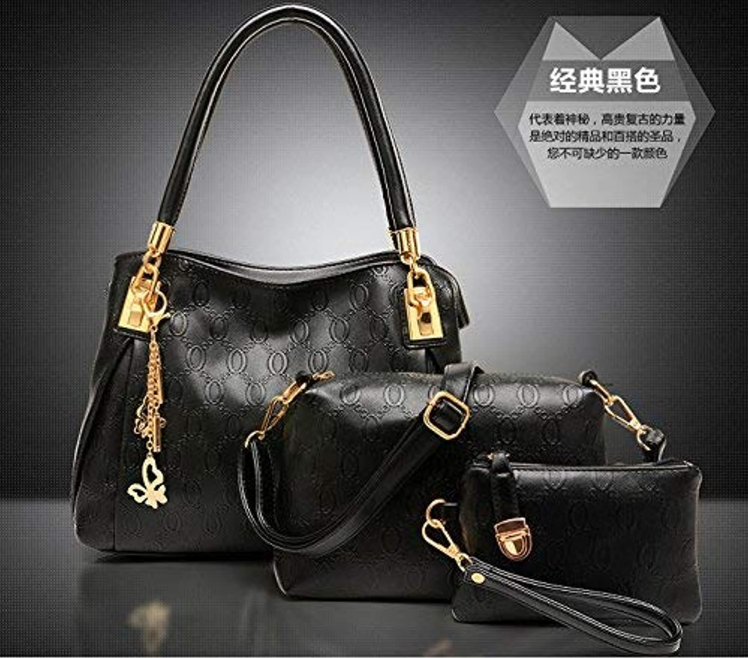 Huasen Evening Bag Handbag Atmosphere Fashion Three Piece Handbag Shoulder Bag Handbag Party Handbag (color   Black)