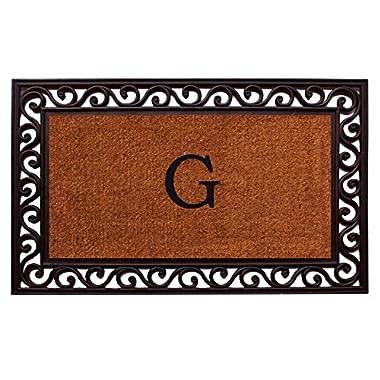Home & More 100062236G Rembrandt Doormat, 22  x 36  x 1 , Monogrammed Letter G, Natural/Black