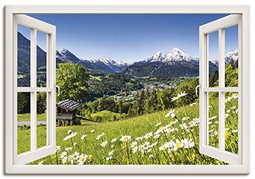 Artland Leinwandbild Wandbild Bild auf Leinwand 100x70 cm Wanddeko Fensterblick Fenster Alpen Landschaft Berge Wald Gebirge Wiese Natur T5TQ