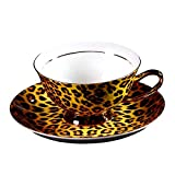 Bone China Ceramic Tea Cup Coffee Cup and Saucer, Leopard-Print,Yellow And Black
