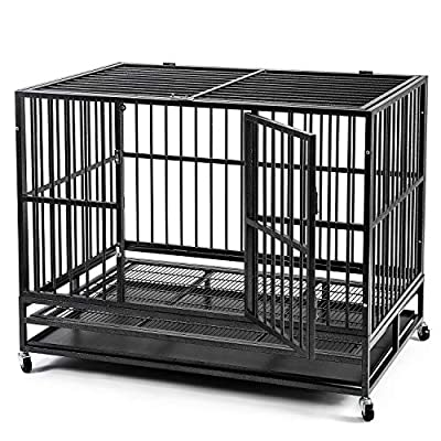 """OVASTLKUY 48"""" Heavy Duty Dog Crate, Kennel Crate w/Wheels&Tray Double Door Folding Metal Dog Crates(48inch)"""