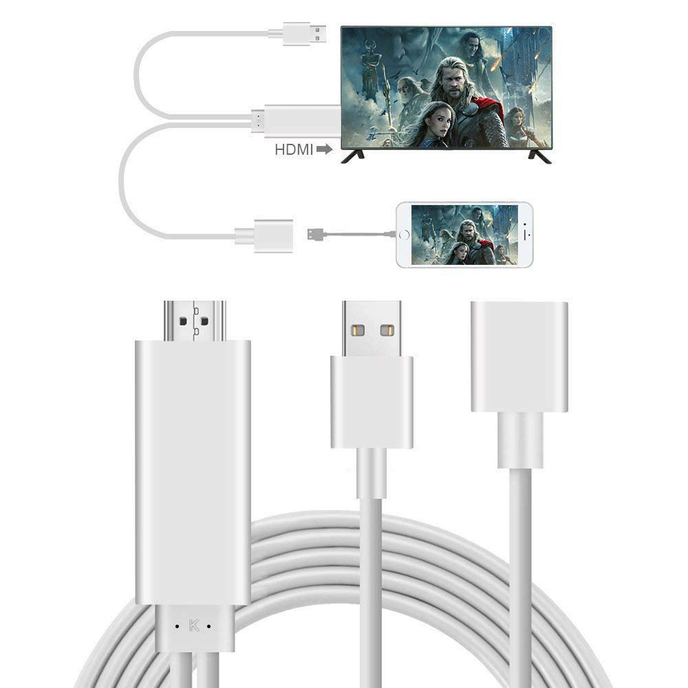 Adaptador Smartphone a HDMI, AMANKA 3 in 1 Full HD Mirroring Cable ...