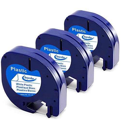 Anycolor kompatible Etikettenband als Ersatz für Dymo Letratag 91221 S0721660 schwarz auf weiß 12mm x 4m Letratag Etiketten für Beschriftungsgerät LT-100H lt-100t lt-110t, 3er-Pack