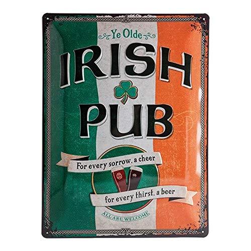 Nostalgic-Art Retro Blechschild Irish Pub – Geschenk-Idee als Bar-Zubehör, aus Metall, Vintage-Design zur Dekoration, 30 x 40 cm