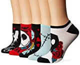 Disney Women's Nightmare Before Christmas 5 Pack No Show, Black Primary, Fits Sock Size 9-11 Fits Shoe Size 4-10.5