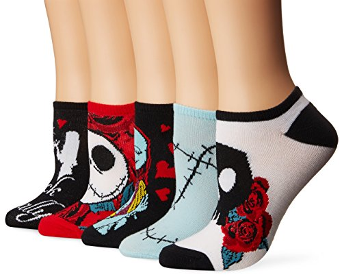 Disney Nightmare Before Christmas - Calcetines para mujer (5 unidades), Primaria negra, 9-11
